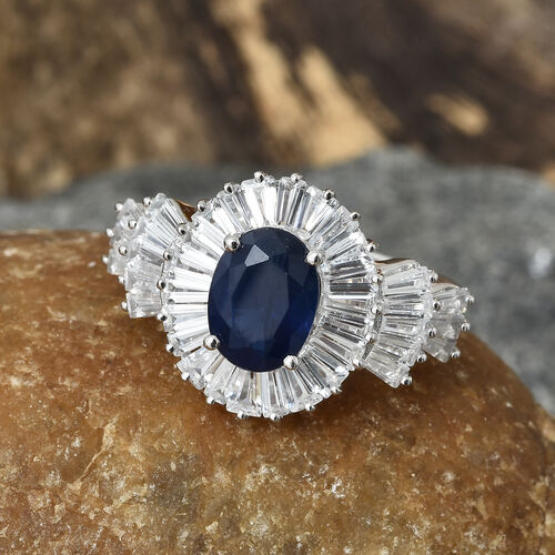 9K White Gold Kanchanaburi Blue Sapphire (Ovl 1.33 Ct), Natural Cambodian Zircon Ring 4.230 Ct.