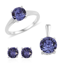 3 Piece Set - J Francis Crystal from Swarovski Tanzanite Colour Crystal (7 mm) Solitaire Ring, Stud