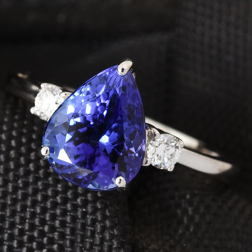 RHAPSODY 950 Platinum AAAA Tanzanite (Pear 10x8 mm, 3.00 Ct), Diamond (VS/E-F) Ring 3.150 Ct.
