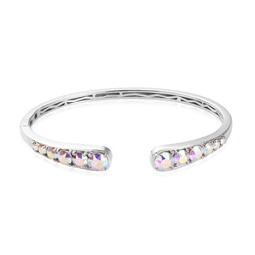 J Francis Crystal from Swarovski AB Crystal Bangle (Size 7.5) in Silver Tone
