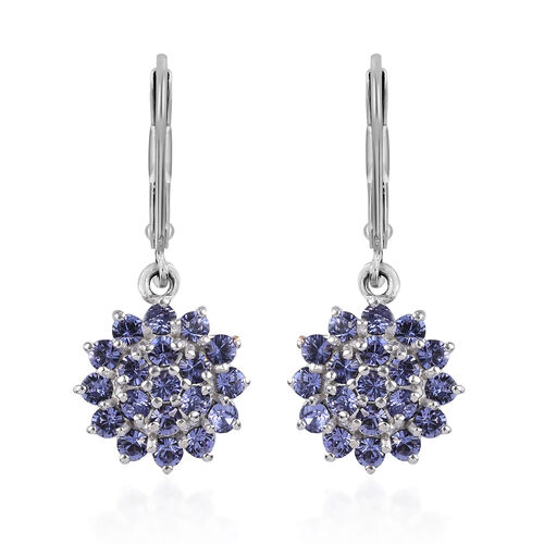 J Francis Crystal from Swarovski Tanzanite Colour Crystal Lever Back Cluster Earrings in Platinum Ov