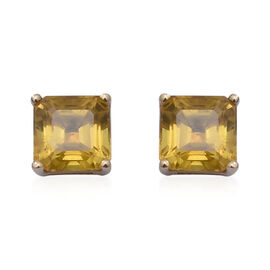 9K Yellow Gold Yellow Sapphire Stud Earrings (with Push Back) 2.70 Ct.