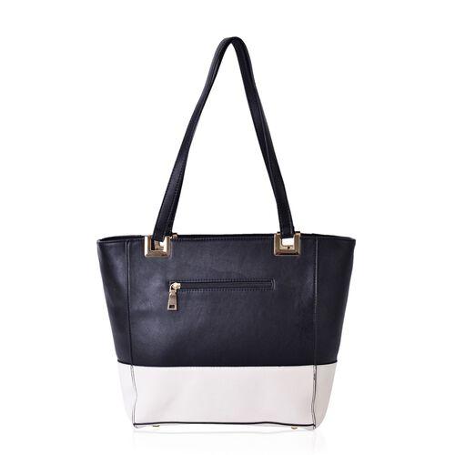 Black and White Colour Tote Bag with External Zipper Pocket (Size 40x28x27x13.5 Cm)
