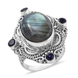 Royal Bali Collection Labradorite (Ovl 20x15 mm), Amethyst Ring in Sterling Silver 19.79 Ct, Silver