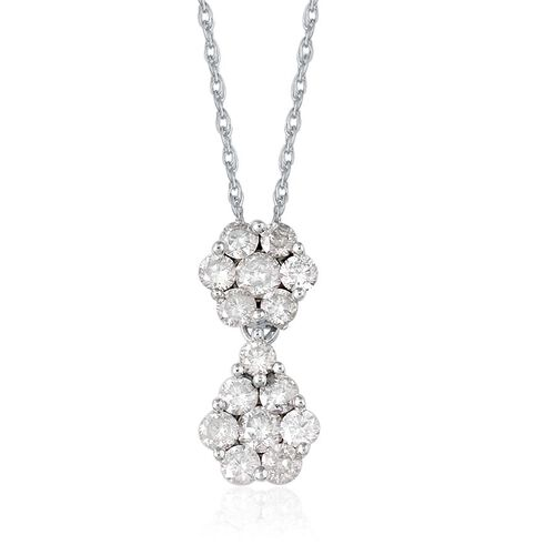 9K White Gold SGL Certified Diamond (Rnd) (I3/G-H) Pendant With Chain 1.000 Ct.