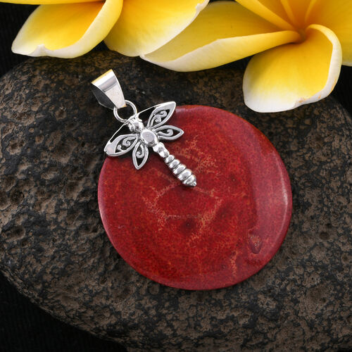 Royal Bali Collection Sponge Coral (Rnd) Dragonfly Pendant in Sterling Silver