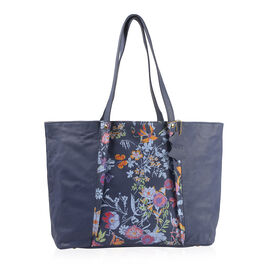 Premium Collection - 100% Genuine Leather RFID Blocker Blue and Multi Colour Tote Bag with External