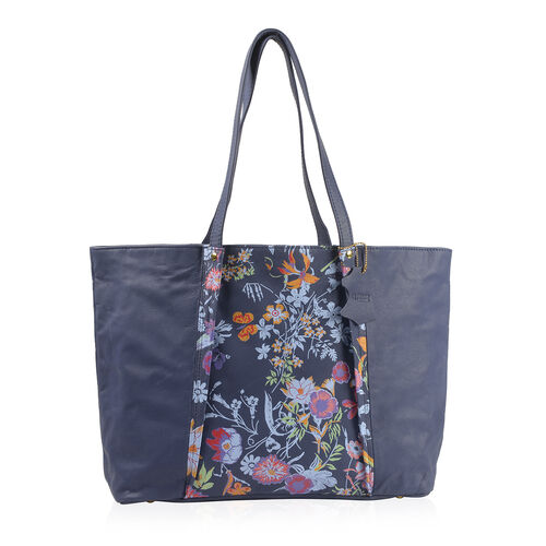 Premium Collection - 100% Genuine Leather RFID Blocker Blue and Multi Colour Tote Bag with External Zipper Pockets and Adjustable Shoulder Strap (Size 46X29X10 Cm)