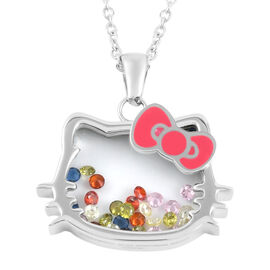 Hello Kitty Austrian Crystal Pendant Necklace (Size 18 with 2 inch Extender) Stainless Steel 0.30 Ct