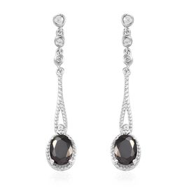 1.81 Ct Elite Shungite and Cambodian Zircon Dangle Earring in Platinum Plated Silver
