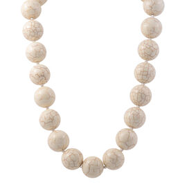 1030 Carat White Howlite Beaded Necklace 19.5 Inch