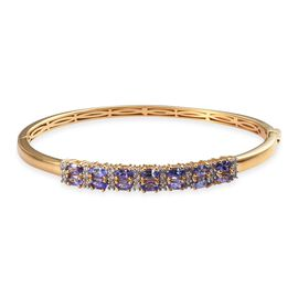 AA Tanzanite and Natural Cambodian Zircon Bangle (Size 7.5) in 14K Gold Overlay Sterling Silver 5.00