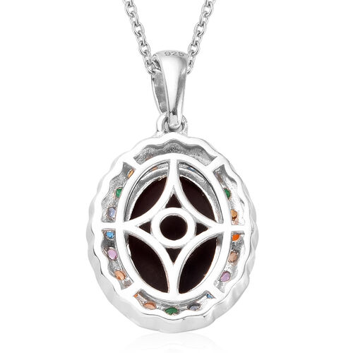 Limited Edition- Australian Boulder Opal (Ovl 14x10mm) and Multi Gemstone Pendant With Chain (Size 20) in Platinum Overlay Sterling Silver