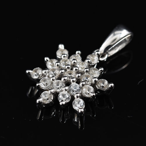 Natural Cambodian Zircon (Rnd) Snowflake Pendant in Platinum Overlay Sterling Silver 1.000 Ct.