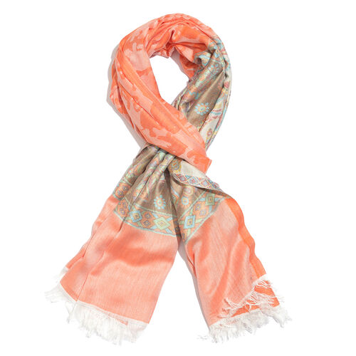 Peach, Blue and Multi Colour Elephant, Floral and Paisley Pattern Reversible Jacquard Scarf with Fringes (Size 180X70 Cm)