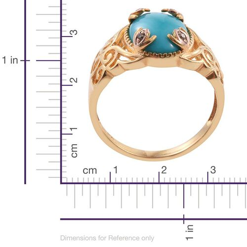 Arizona Sleeping Beauty Turquoise (Ovl), Natural Champagne Diamond Ring in 14K Gold Overlay Sterling Silver 4.270 Ct.