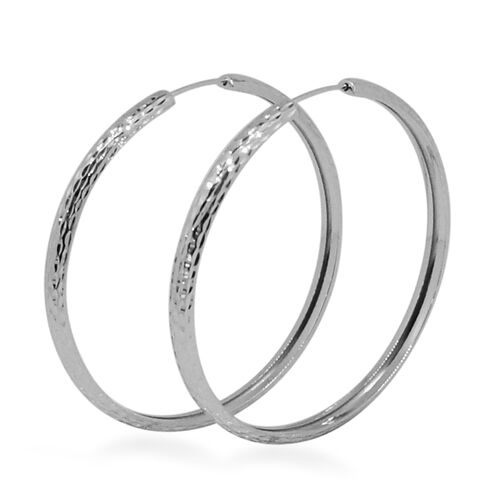 9K White Gold Diamond Cut Hoop Earrings, Gold wt 3.01 Gms.