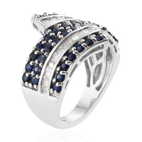 Kanchanaburi Blue Sapphire (Rnd), Diamond Ring in Platinum Overlay Sterling Silver 2.250 Ct, Silver wt 6.01 Gms.