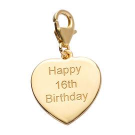 14K Gold Overlay Sterling Silver Happy 16th Birthday Charm