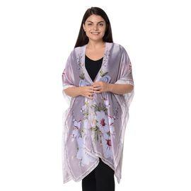 Plum Blossom Flower Pattern Kimono (Size 83x90 Cm) - Purple