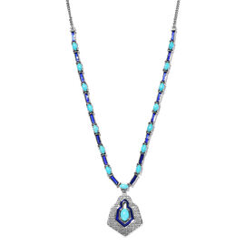 Designer Inspired- AAA Arizona Sleeping Beauty Turquoise Enamelled Necklace (Size - 18 with 2 inch E