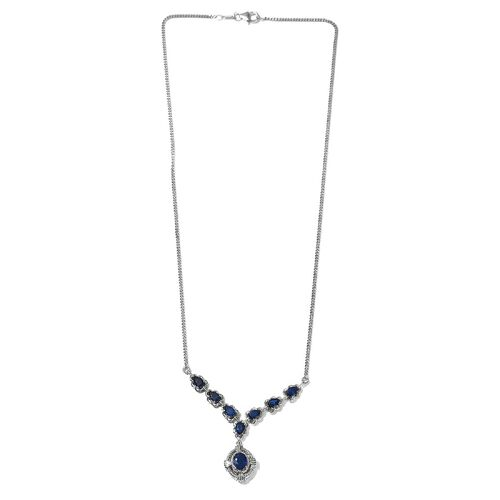 Tanzanian Blue Spinel Necklace (Size 20) in Platinum Overlay Sterling Silver 4.70 Ct, Silver wt. 11.