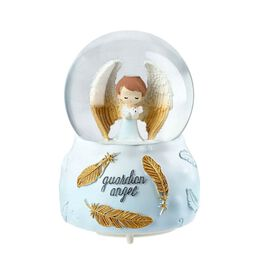 Gaurdian Angel Glass Music Ball with Auto Snowing (15x10cm) - White