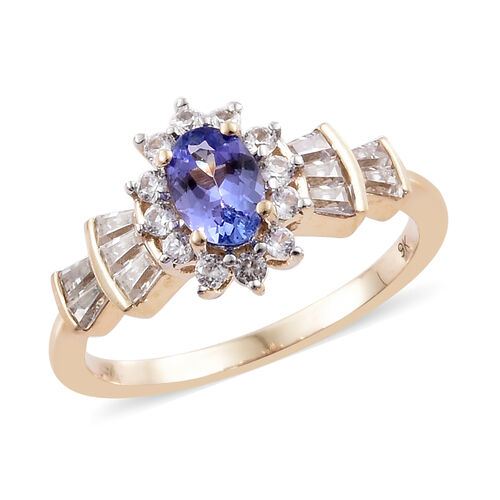 Designer Inspired-9K Yellow Gold AA Tanzanite (Ovl), Natural Cambodian Zircon Ballerina Ring 1.200 Ct.