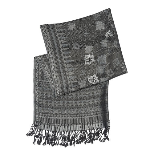 100% Superfine Silk Black, Blue and Grey Colour Floral Pattern Scarf (Size 180x70 Cm)