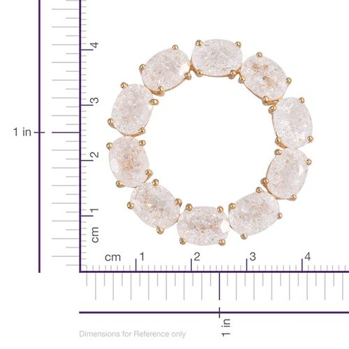 Diamond Crackled Quartz (Ovl) Circle of Life Pendant in 14K Gold Overlay Sterling Silver 11.250 Ct.