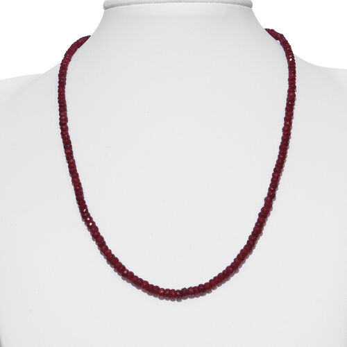 Super Auction- Ruby (Rnd) Beads Nacklace (Size 18 ) in Rhodium Overlay Sterling Silver 90.00 Ct.