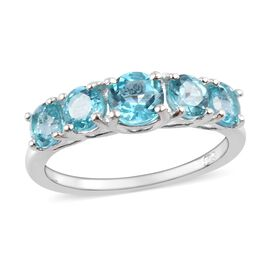 One Time Deal- Paraibe Apatite (Rnd 5mm) 5 Stone Ring in Sterling Silver Ring 1.750 Ct.