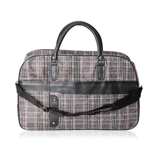 Super Chic Checker Pattern Water Resistant Large Weekend Handbag  with Adjustable and Removable Shou