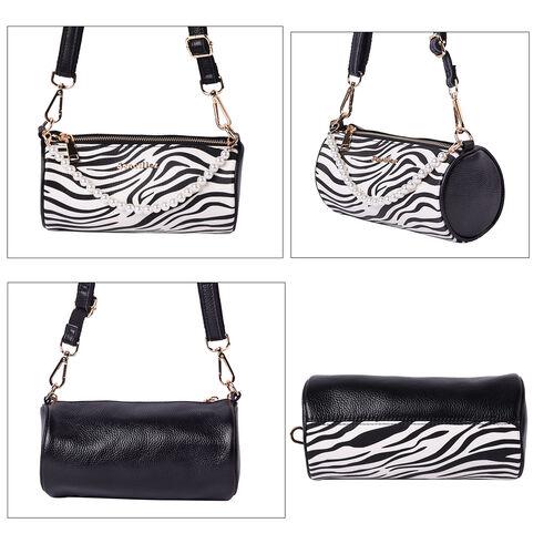 Sencillez Zebra Pattern 100% Genuine Leather Barrel Crossbody Bag in White & Black