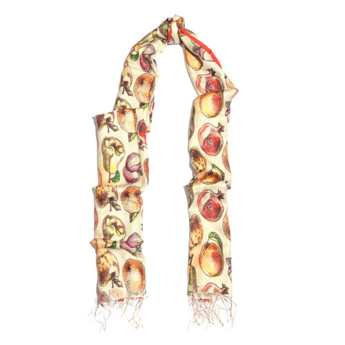 100% Katan Silk Cream, Red and Multi Colour Digital Print Fruits Pattern Scarf with Tassels (Size 200x70 Cm)
