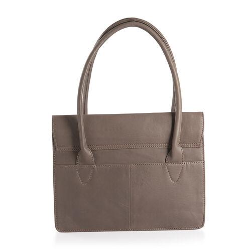 Super Reduction Deal 100% Genuine Leather RFID Blocker Dark Grey Colour Tote Bag with Gemstone Adorned Tassel Charm (Size 32X24 Cm)