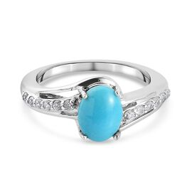 Arizona Sleeping Beauty Turquoise and Natural Cambodian Zircon Bypass Ring in Platinum Overlay Sterl