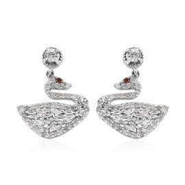 GP Diamond (Rnd and Bgt), Blue Sapphire Swan Earrings (with Push Back) in Platinum Overlay Sterling