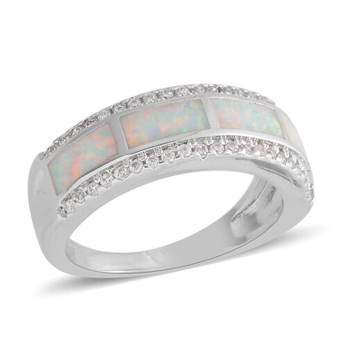 Karis Silver Tone Created Opal (1.32 Ct),Simulated Diamond Brass Ring  1.720  Ct.