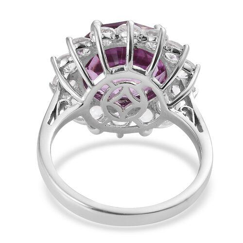 LASER CUT - Kunzite Colour Quartz (Rnd), White Topaz Ring in Platinum Overlay Sterling Silver 11.000 Ct.