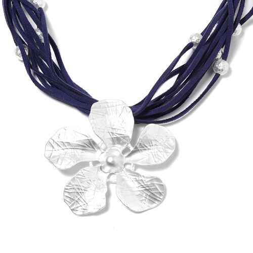 Multi Row Flower Necklace (Size 20 ) in Silver Plated