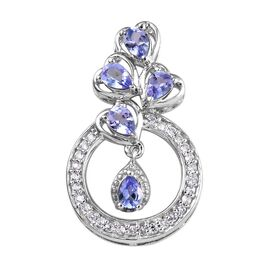 1 Carat Tanzanite and Zircon Heart Pendant in Platinum Plated Sterling Silver