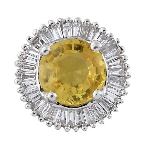 Limited Edition - ILIANA 18K White Gold AAA Chanthaburi Yellow Sapphire (Rnd 1.05 Ct), Diamond (SI - G/H) Pendant 1.250 Ct.