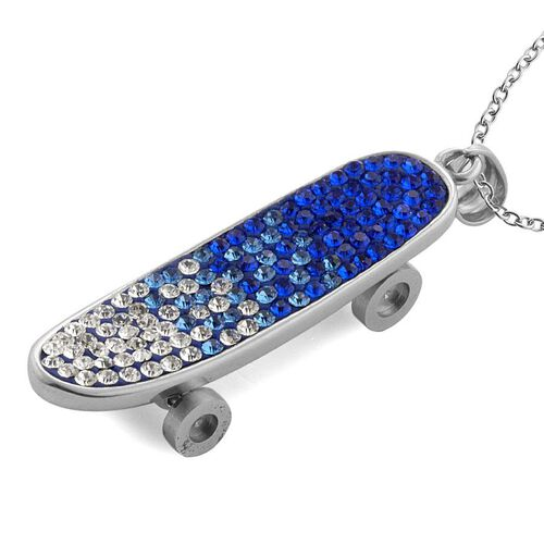 Blue and White Austrian Crystal Skateboard Pendant With Chain (Size 20) in Stainless Steel