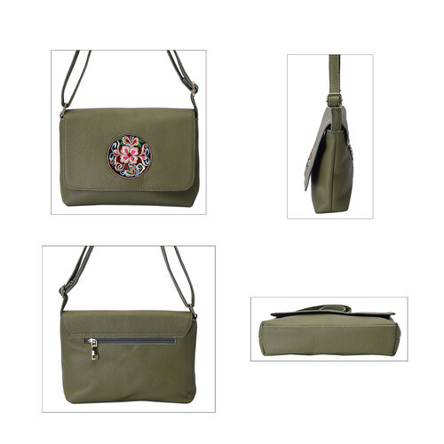 100% Genuine Leather Adjustable Crossbody Bag (25x18x7cm) with Embroidered Flower Pattern - Green