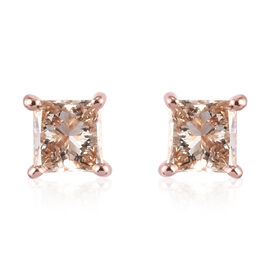 9K Rose Gold SGL Certified Champagne Diamond (I3) Solitaire Stud Earrings (with Push Back) 0.25 Ct.
