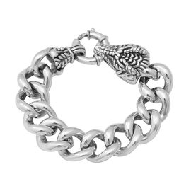 Rhodium Overlay Sterling Silver Cuban Link Bracelet with Dragon Head (Size 8), Silver wt 30.14 Gms.