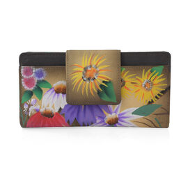 SUKRITI - 100% Genuine Leather Brown and Multi Colour Floral Print Handpainted Wallet with RFID Blocking (Size 19.68x10.16x2.54 Cm)