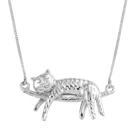 Platinum Overlay Sterling Silver Cat Necklace (Size 18), Silver wt 5.60 Gms.