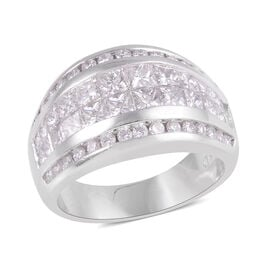 Signature Collection 2.59 Ct Diamond Princess Cut Invisible Set Ring in 18K White Gold SGL Certified